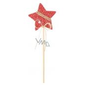 Hvězda pletená červená zápich 6 cm + špejle
