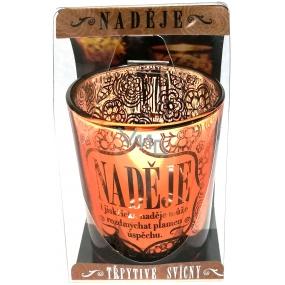 Albi Třpytivý svícen ze skla na čajovou svíčku NADĚJE jiskřička naděje může rozdmýchat plameny úspěchu, 7 cm