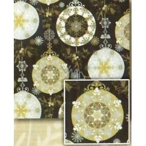 Nekupto Dárkový balicí papír 70 x 500 cm Vánoční Černý, stříbrné, zlaté motivy
