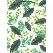 Ditipo Dárková papírová taška střední Kraft bílá zelené listy 22 x 29 x 10 cm