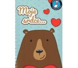 Albi Hrací přání s efektem Medvěd se srdcem 14,8 x 21 cm