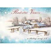 Nekupto Pohlednice Radostné vánoce modrá,chaloupky