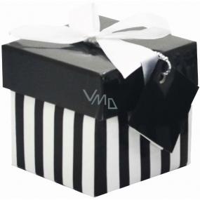 Dárková krabička skládací s mašlí 05 Černo-bílé proužky Mini 7 x 7 x 7 cm