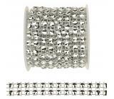 Řetěz síťka s kamínky stříbrný 1,8 m