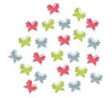 Dřevění motýli zelená, červená, modrá 2 cm 24 kusů