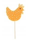 Slepička z filcu s puntíky oranžová zápich 7,5 cm + špejle