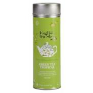 English Tea Shop Bio zelený čaj s infuzí tropického ovoce 15 kusů bioodbouratelných pyramidek čaje v recyklovatelné plechové dóze 30 g, dárková sada