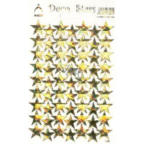 Arch Holografické dekorační samolepky zlaté hvězdičky 1 arch