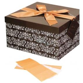 Anděl Dárková krabička skládací s mašlí hnědá s bílým ornamentem 25 x 25 x 14,5 cm