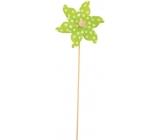 Větrník s velkými puntíky zelený 9 cm + špejle 1 kus