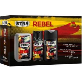 Str8 Rebel voda po holení pro muže 50 ml + deodorant sprej pro muže 150 ml + sprchový gel 250 ml, kosmetická sada