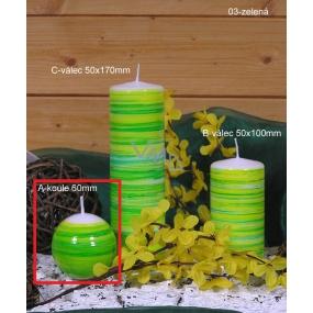 Lima Twist svíčka zelená koule 60 mm 1 kus