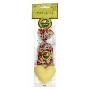Le Chatelard Verbena a Citron látkový pytlíček plněný vonnou směsí 18 g + Marselle toaletní mýdlo ve tvaru srdce 100 g, kosmetická sada