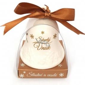 Nekupto Vánoční keramický zvoneček s nápisem Skvělý vnuk 6,5 x 5,5 cm