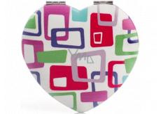 Diva & Nice Zrcátko dvojité klasické a zvětšovací srdíčko - čtverce barevné 7 x 6,5 cm
