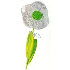 Květina velká bílá proplétaná 49 cm