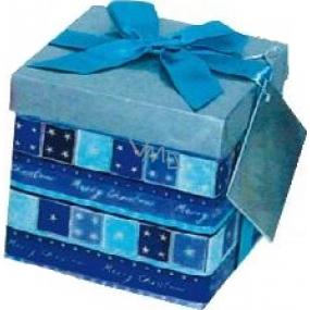 Dárková krabička s mašlí skládací vánoční modrá s modrou mašlí 1371 S 13 x 13 x 13 cm 1 kus