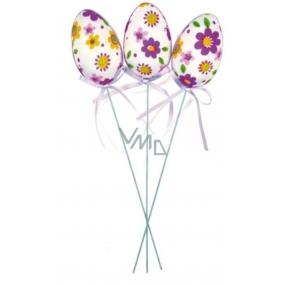 Vajíčko z květované látky fialové zápich 6 cm + drátek