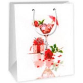 Ditipo Dárková papírová taška střední bílá - sklenička, dárek, růže 18 x 10 x 22,7 cm C