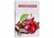 Bispol Aura Chocolate Cherry s vůní čokolády a třešně vonné čajové svíčky 6 kusů