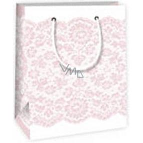 Ditipo Dárková papírová taška 11,4 x 6,4 x 14,6 cm bílá s růžovou krajkou