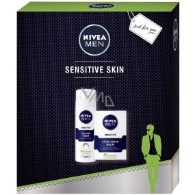 Nivea Men Sensitive pěna na holení pro muže 200 ml + balzám po holení 100 ml, kosmetická sada