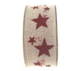 Ditipo Nordic stuha béžová červené hvězdy 2 m x 25 mm