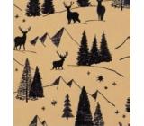 Zöllner Vánoční Luxusní balicí papír s ražbou Scandi zlatý - černé stromy s jeleny 1,5 m x 70 cm