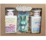 Jack N Jill Sweetness - Sladkost 2v1 sprchový gel a šampon pro děti dávkovač 300 ml + Jack N Jill Sweetness - Sladkost tělové mléko pro děti dávkovač 300 ml + Zajíček hračka do koupele, kosmetická sada