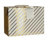 Anděl Dárková papírová taška krabice 23 x 16 x 11 cm uzavíratelná, se zlatými proužky