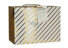 Anděl Taška dárková krabice, uzavíratelná, se zlatými proužky 23 x 16 x 11 cm