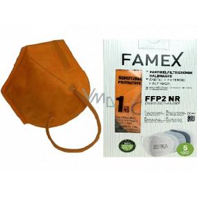 Famex Respirátor ústní ochranný 5-vrstvý FFP2 obličejová maska oranžová 10 kusů