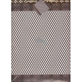 Nekupto Dárková papírová taška velká BL Hnědé káro drobné 32,5 x 26 x 13 cm