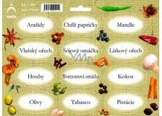 Arch Samolepky na kořenky Juta barvotisk Arašídy - přísady pro přípravu minutek (sojová omáčka, oříšky, papričky)