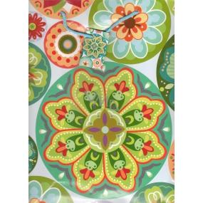 Nekupto Dárková papírová taška střední 1056 50 BL barevné ornamenty 32,5 x 26 x 13 cm