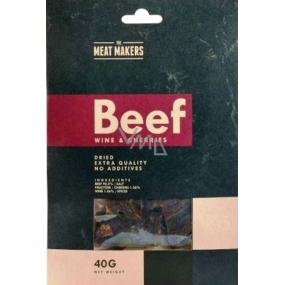 Meat Makers Beef Jerky Wine & Cherries tenké plátky hovězí kýty konzervované sušením 40 g