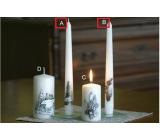 Lima Relief zimní svíčka metal bílá mrazivý efekt kužel 22 x 250 mm 1 kus