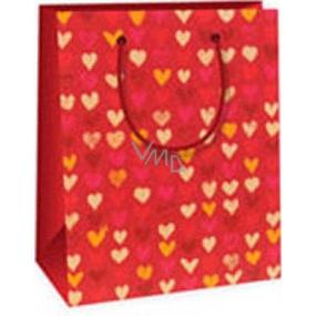 Ditipo Dárková papírová taška 11,4 x 6,4 x 14,6 cm červená se srdíčky