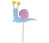 Šnek z filcu barevný modrý zápich 6 cm + špejle