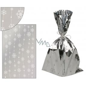 Anděl Sáček stříbrný s vločkami na lince 25 x 40 cm