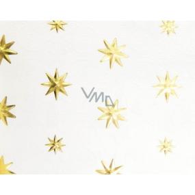 Zöwie Dárkový balicí papír 70 x 150 cm Vánoční Luxusní White Christmas přírodní zlaté hvězdičky