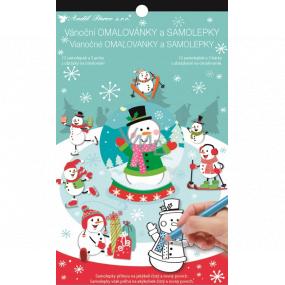 Weihnachtsaufkleber und Malbuch Schneemann 14 x 23 cm