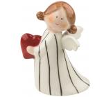 Anděl porcelánový se srdcem 10 cm na postavení
