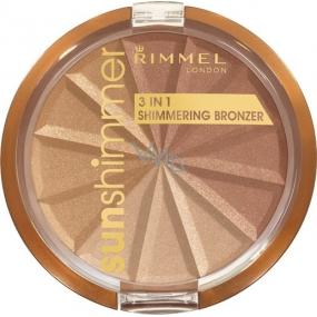Rimmel London Sun Shimmer Shimmering Bronzer 3v1 bronzující pudr 001 Gold Princess 9,9 g