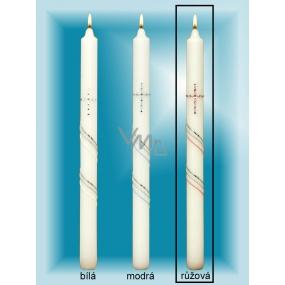 Lima Kostelní křestní svíčka se zirkony růžová č.4 36 cm 1 kus