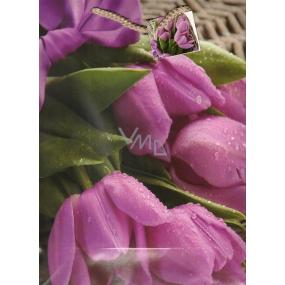 Nekupto Dárková papírová taška velká 32,5 x 26 x 13 cm tulipány 1305 40 KFL