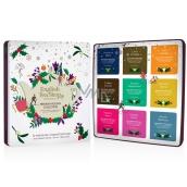 English Tea Shop Bio Vánoční kolekce prémiová - Bílá Vánoční noc + Náboj Chai-e + Irské vánoce + Káva a kakao + Mátový punč + Přízračné koření + Silná broskev + Sváteční povzbuzení + Zimní rovnováha, 72 kusů, 9 příchutí po 8 nálevových sáčcích, dárková sada v plechové dóze