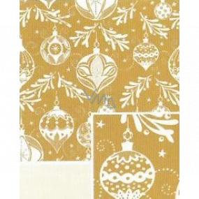 Nekupto Dárkový balicí papír 70 x 500 cm Vánoční zlatý bílé baňky
