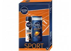 Nivea Men Sport sprchový gel 250 ml + Black & White Ultimate Impact antiperspirant sprej 150 ml, kosmetická sada pro muže