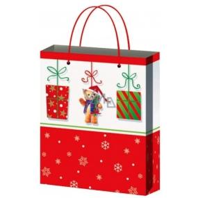 Anděl Taška vánoční dárková pro děti červenobílá,dárky,medvídek L 32 x 26 x 12,7 cm